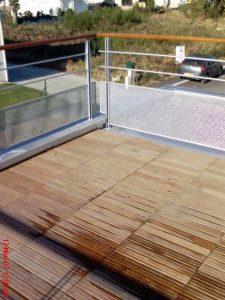 Garde corps sur balcon, main courante bois