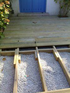 préparation de la terrasse en bois